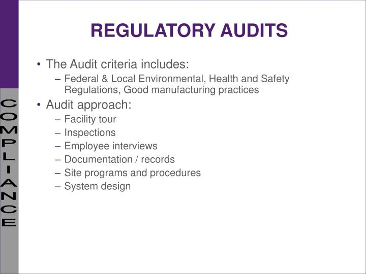 REGULATORY AUDITS