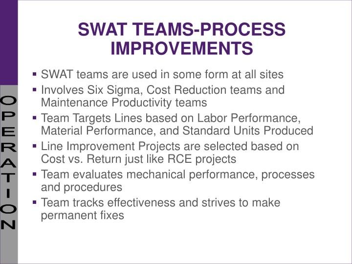 SWAT TEAMS-PROCESS IMPROVEMENTS