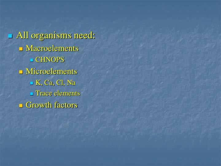 All organisms need: