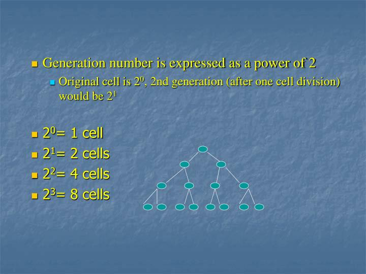 Generation number is expressed as a power of 2