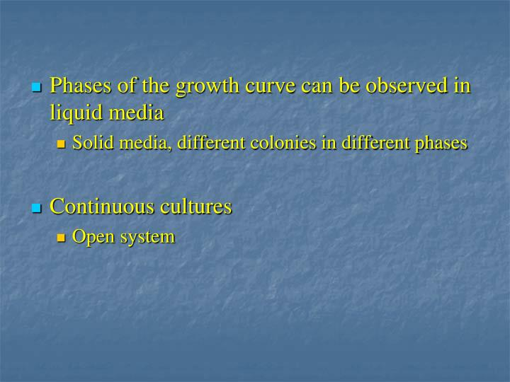 Phases of the growth curve can be observed in liquid media