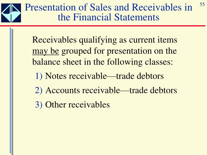 Presentation of Sales and Receivables in the Financial Statements