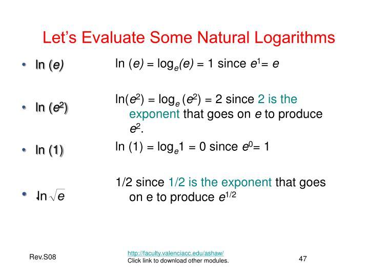 Let's Evaluate Some Natural Logarithms