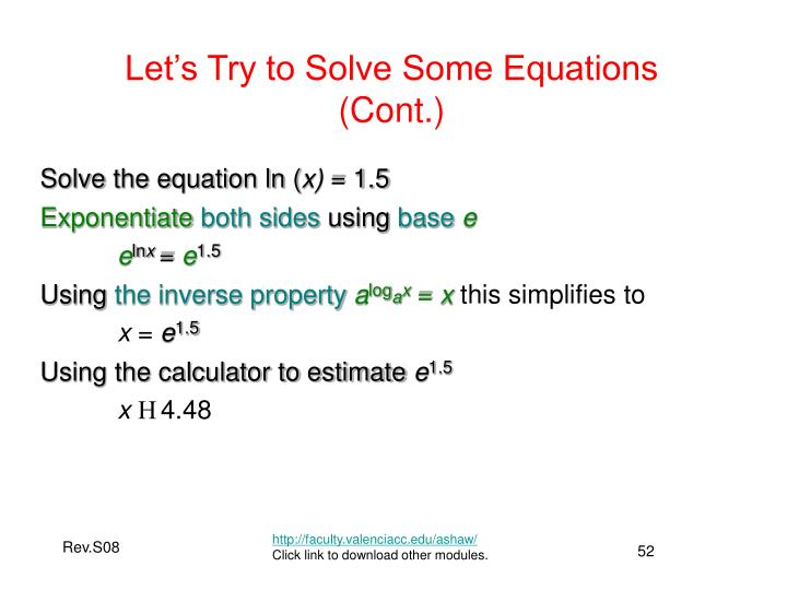 Let's Try to Solve Some Equations (Cont.)