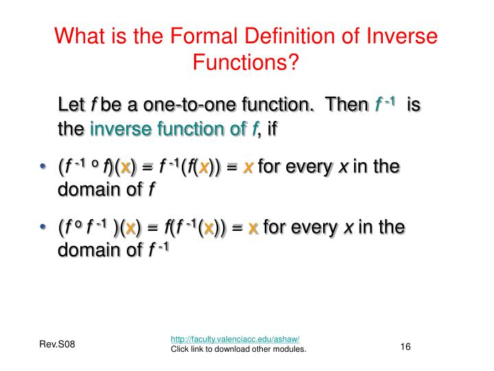 What is the Formal Definition of Inverse Functions?