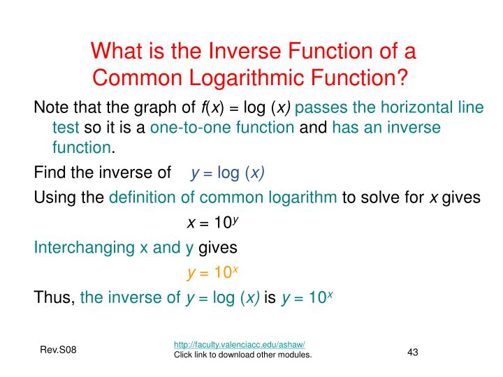 What is the Inverse Function of a Common Logarithmic Function?