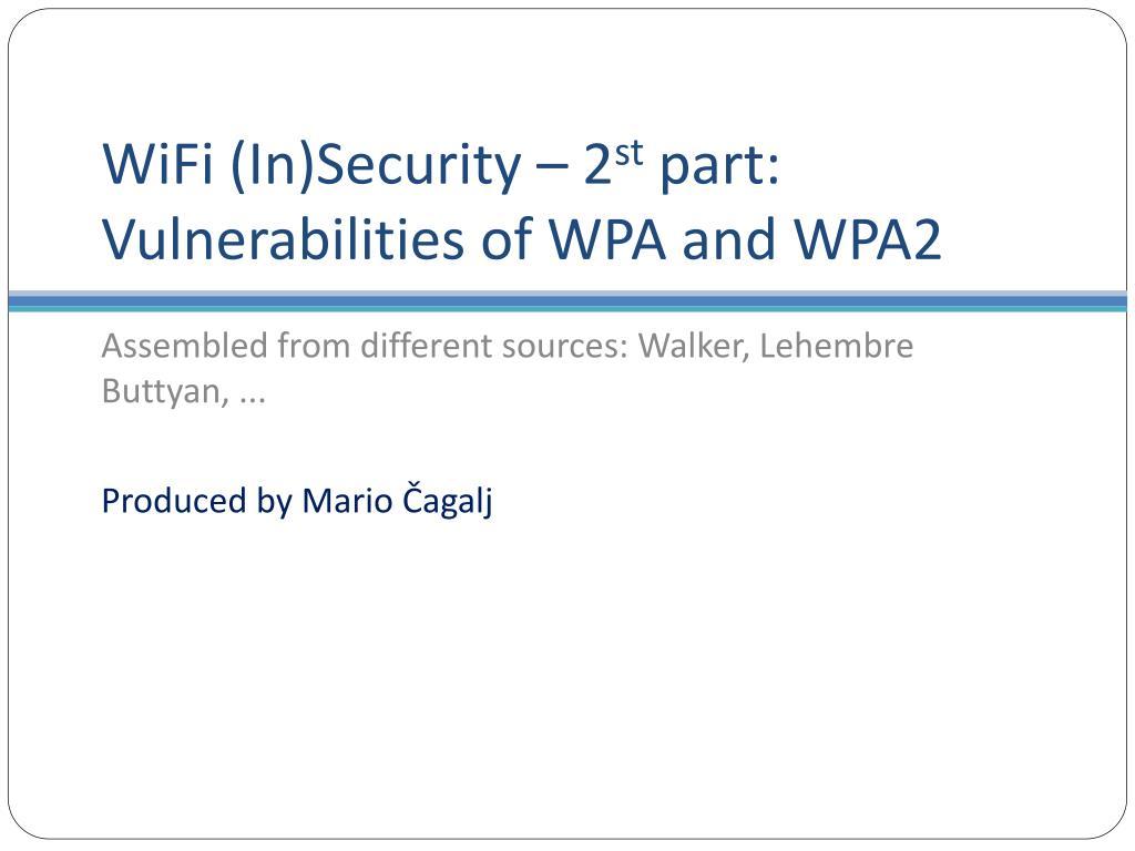 PPT - FELK 19: Security of Wireless Networks * PowerPoint