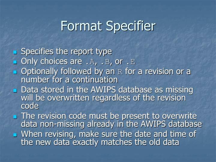 Format Specifier