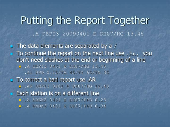 Putting the Report Together