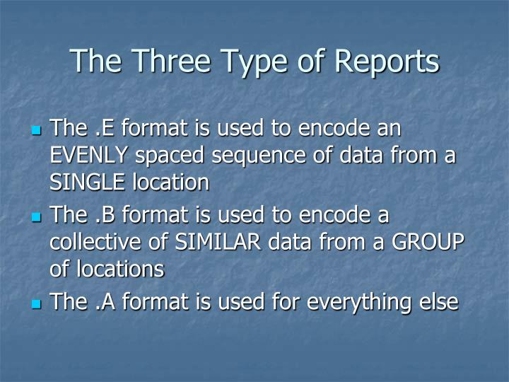 The Three Type of Reports