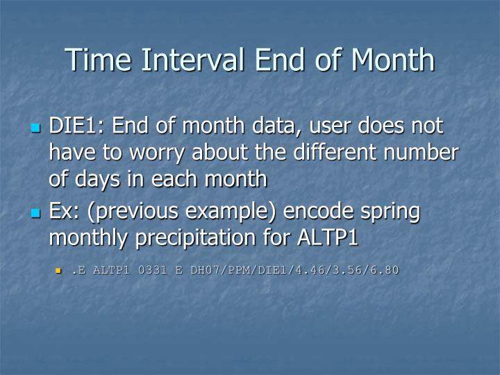 Time Interval End of Month