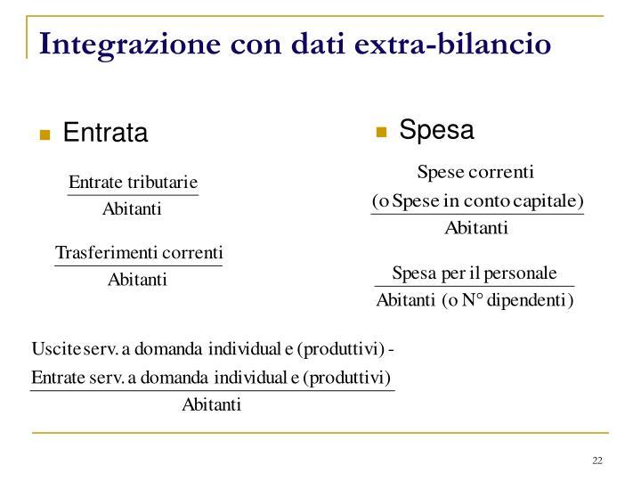 Integrazione con dati extra-bilancio