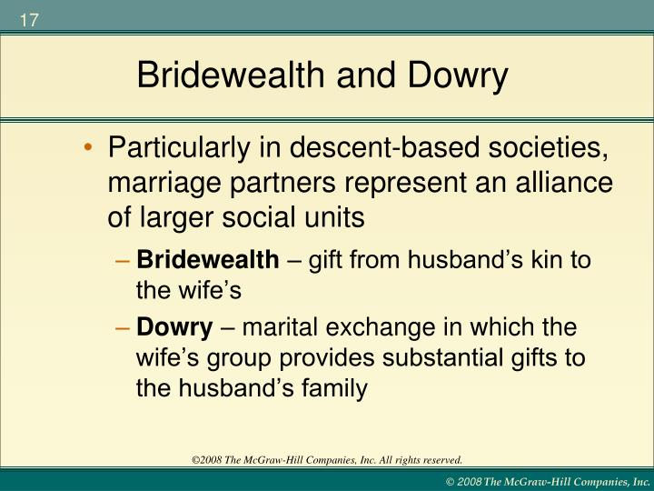 Dowry and bridewealth Homework Example - June 2019 - 1544 words