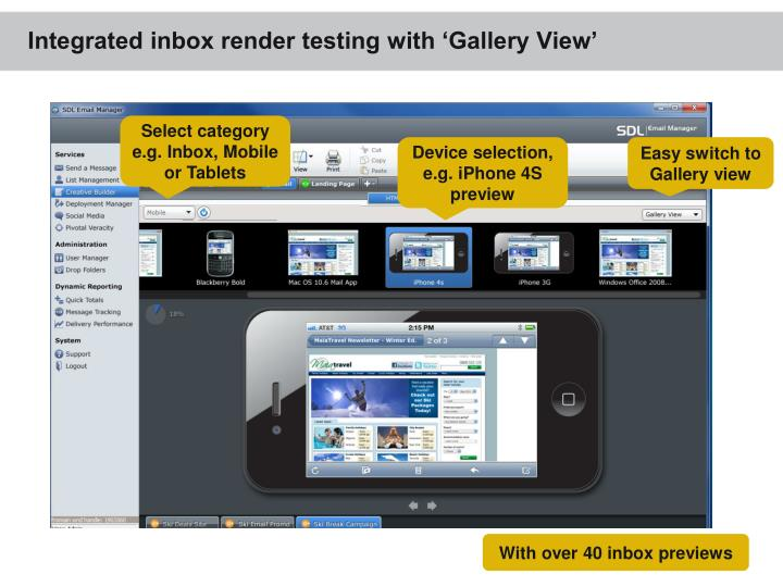 Integrated inbox render testing with 'Gallery View'