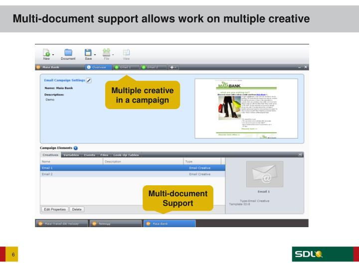 Multi-document support allows work on multiple creative