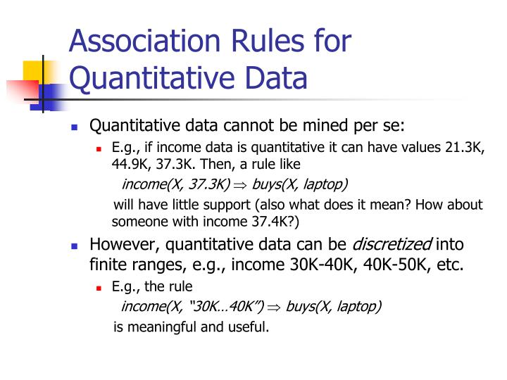 Association Rules for Quantitative Data