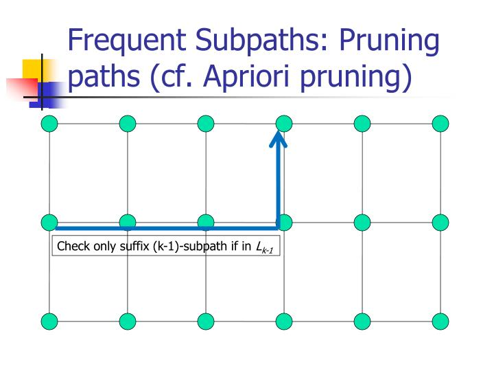 Frequent Subpaths: Pruning paths (cf. Apriori pruning)