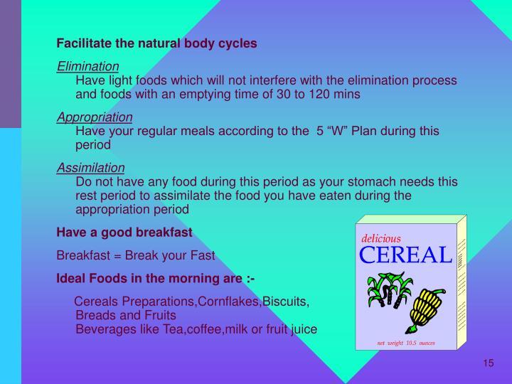 Facilitate the natural body cycles