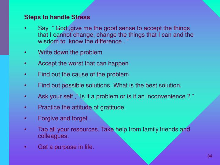 Steps to handle Stress