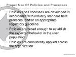 proper use of policies and processes