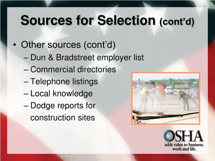 Sources for Selection