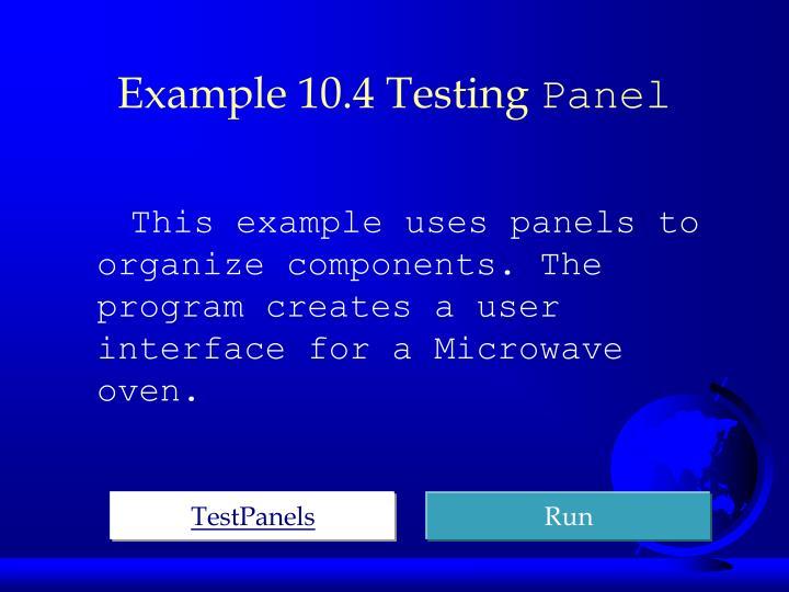 Example 10.4 Testing