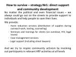 how to survive strategy 1 direct support and community development