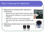 step 3 cleaning the objectives