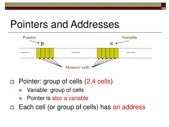 Pointers and addresses