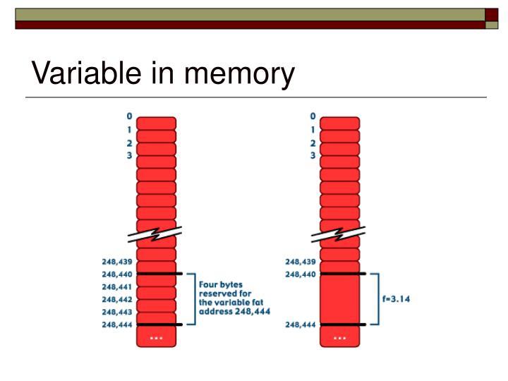 Variable in memory