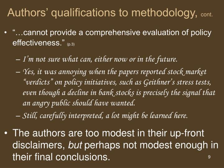 Authors' qualifications to methodology,