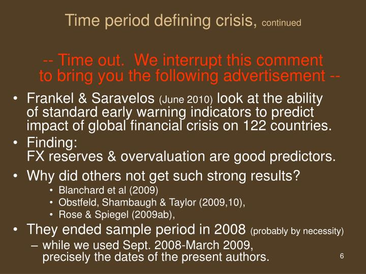 Time period defining crisis,