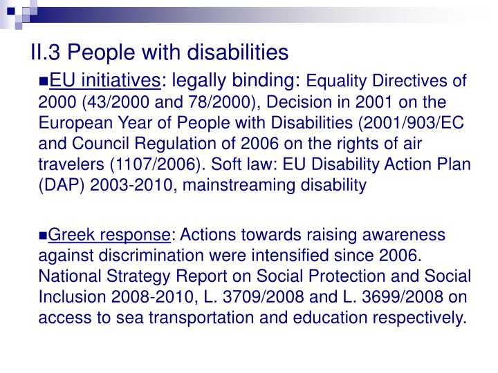 II.3 People with disabilities