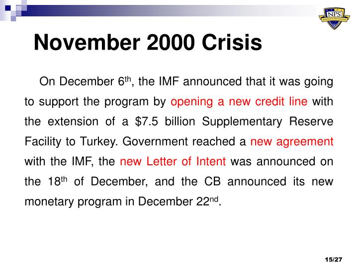 Ppt twin crises in turkey amp criticisms of imf powerpoint on december 6th the imf announced that it was going to support the program by opening a new credit line with the extension of a 75 billion supplementary spiritdancerdesigns Image collections