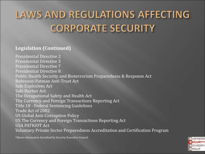 Legislation (Continued)