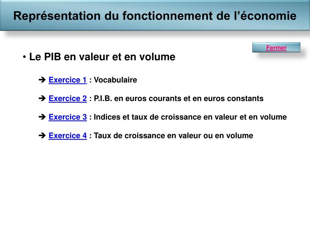 Ppt Le Pib En Valeur Et En Volume Exercice 1 Vocabulaire