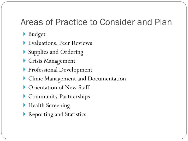 Areas of Practice to Consider and Plan