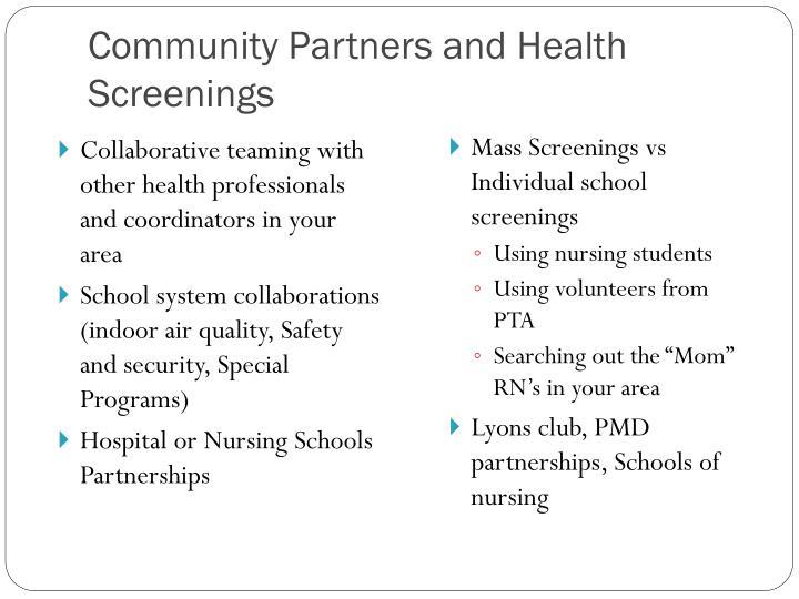 Community Partners and Health Screenings