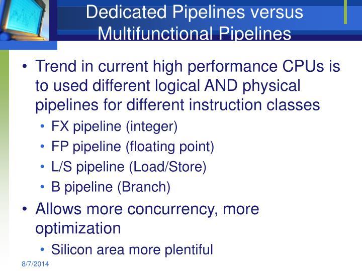Dedicated Pipelines versus Multifunctional Pipelines