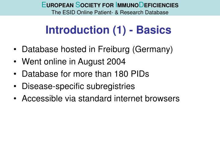 Introduction 1 basics