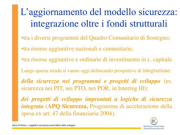 L'aggiornamento del modello sicurezza: integrazione oltre i fondi strutturali