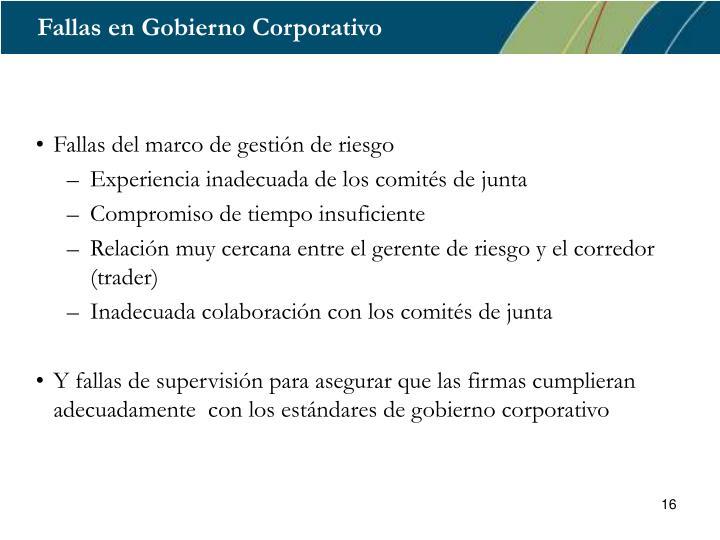 Fallas en Gobierno Corporativo