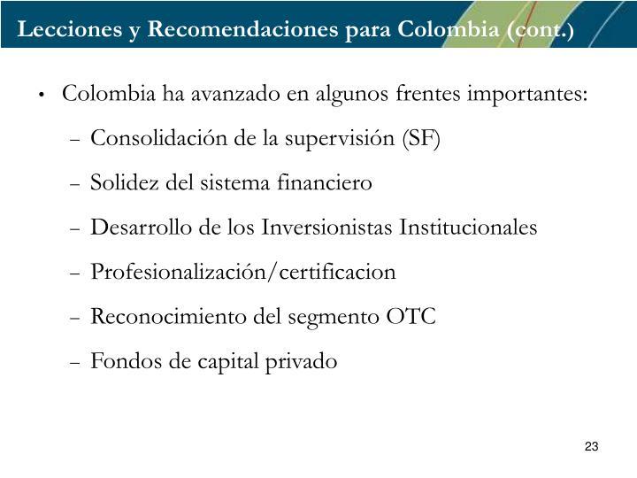 Lecciones y Recomendaciones para Colombia (cont.