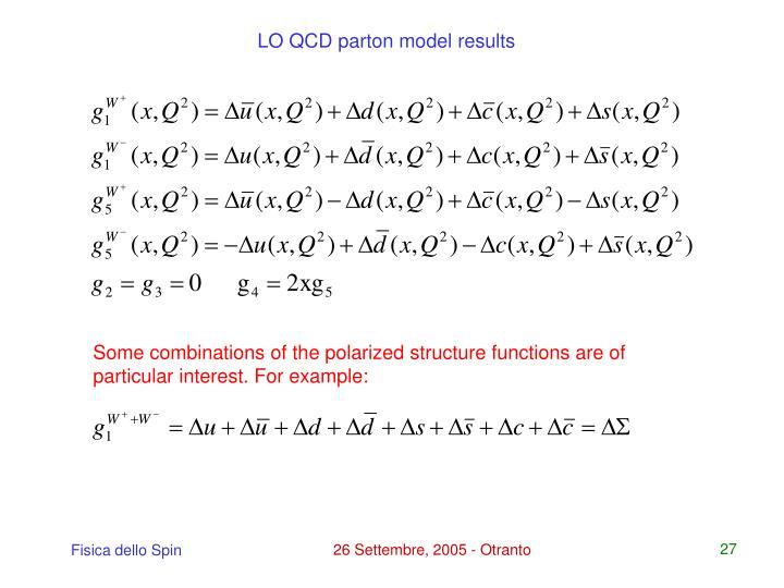 LO QCD parton model results