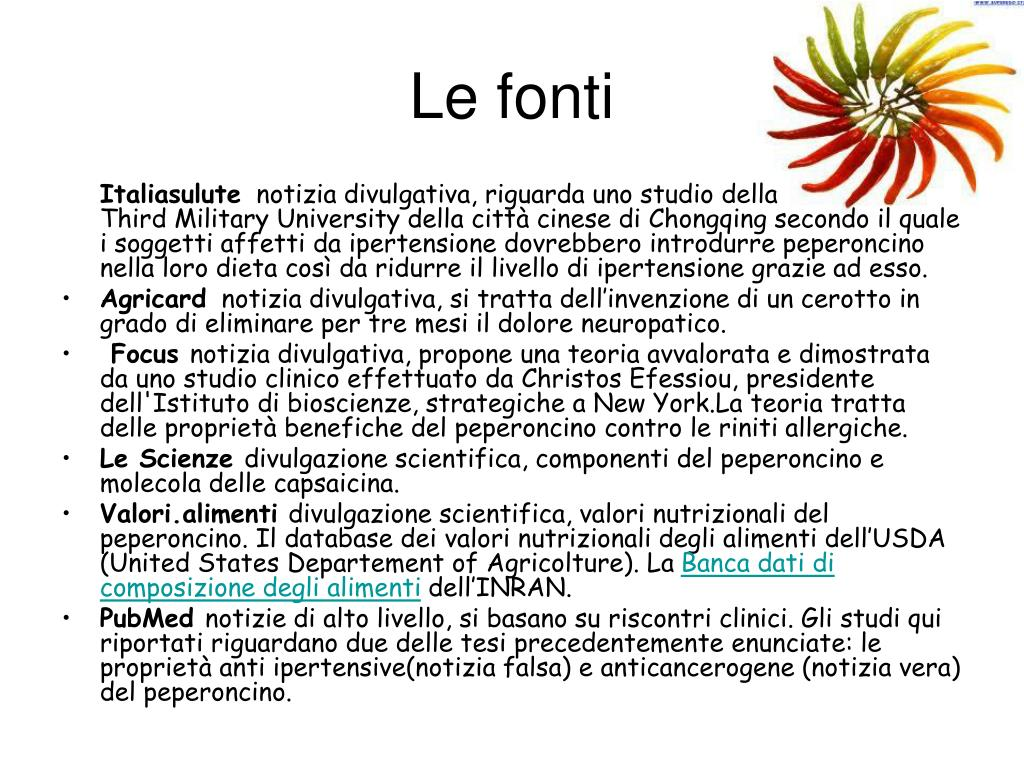 PPT - L'azione benefica del peperoncino PowerPoint..