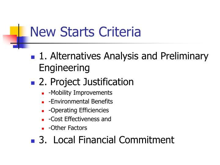 New Starts Criteria