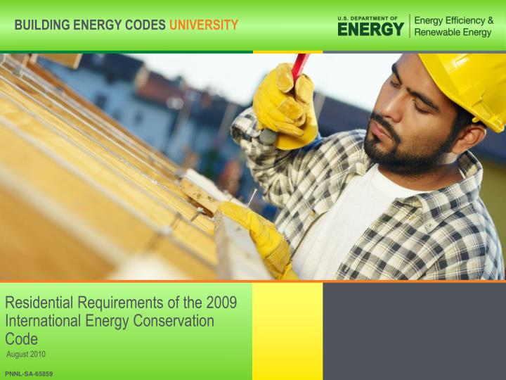 residential requirements of the 2009 international energy conservation code n.