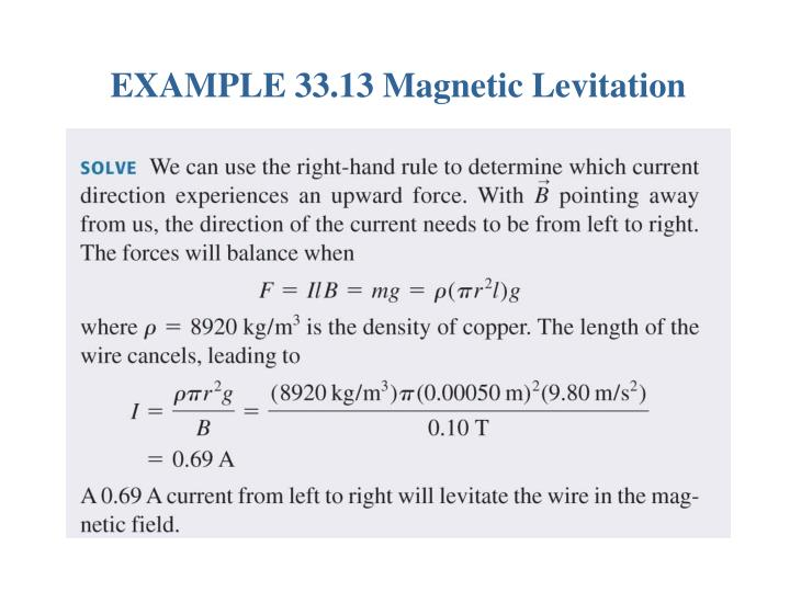 EXAMPLE 33.13 Magnetic Levitation