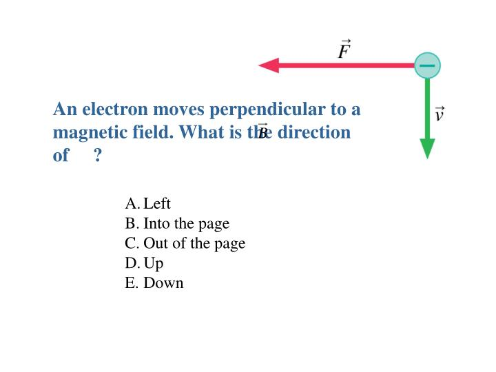 An electron moves perpendicular to a magnetic field. What is the direction