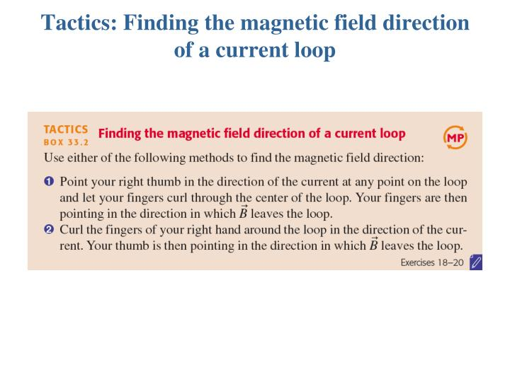 Tactics: Finding the magnetic field direction of a current loop